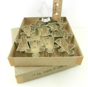 "12 Vtg Tin Plate Gingerbread Girl Cookie Cutter Shapes #3306 2"" Crafts Baking MS"