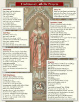 Catholic Prayer Poster, 8.5 x 11 in size, 14 Prayers