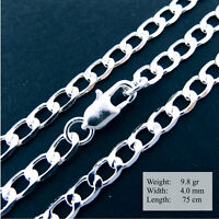 Necklace Pendant Chain Genuine Real 925 Sterling Silver S/F Solid Curb Link 75cm