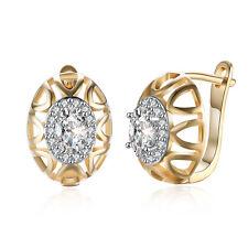 Women 18K Gold Plated Jewelry Zircon Ear Buckle Hoop Huggie Earrings Party Gift