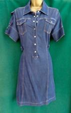 KAREN MILLEN UK14 Chambray Denim Dark Blue Cotton Utility Shirt Dress DL211 RARE