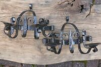 Pair Gothic Wrought Iron Wall Lights / Candle Holder - Vintage