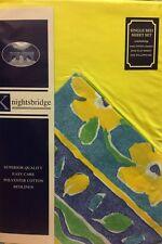Conjunto De Ropa De Cama Individual Brillante Floral Ajustada Funda De Almohada Polialgodón Azul Verde Azulado plana