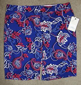 New Dana Buchman Sz 10 Bermuda Shorts Cotton Stretch Blue Red Paisley Floral