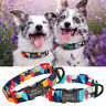 Nylon Personalised Dog Collar Free Engraved Quick fit Buckle Custom ID Name Tags