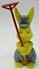 "Rosbro yellow RABBIT 4"" candy container EASTER hard plastic 1940's-50's hi-grade"