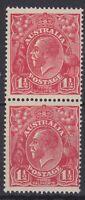 G432) Australia 1924 KGV  1½d Scarlet single wmk, vertical pair upper