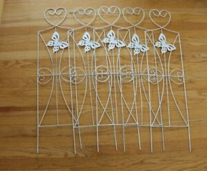 Vintage Rustic White Metal Wire GARDEN FENCE Butterflys Border 5 Panels