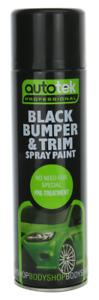 1x AUTOTEK Professional Black Bumper and Trim 500ml Spray Paint High Coverage