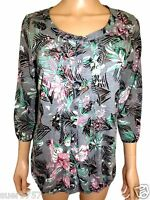 New Ex M&S Ladies Grey Floral 3/4 Sleeve Casual Top Size 12 - 18 Scoop Neck