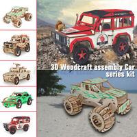 Car Series 3D Wooden Puzzle Jigsaw Woodcraft Kids Toy Model DIY Construction UK
