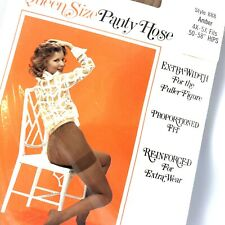 Vintage Queen 4 X - 5 X Amber Pantyhose Extra Width Full Figure Reinforced 71