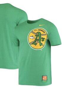 """NWT Men's Oakland A's """"Swingin' A's"""" Nike Cooperstown Collection T Shirt, Large!"""