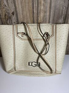 G By Guess Purse Handbag Tan Beige Pebbled With Leopard Inside