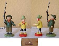 2 vecchie figure-FIORI ragazzo-direttore d'orchestra-LEGNO-Erzgebirge