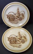 Vintage Chianti stoneware Salad plates x 2 International China fruit wine bottle