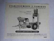 """catalogue prospectus Ets j SAMBRON : cidrerie ambulante type """" junior """""""