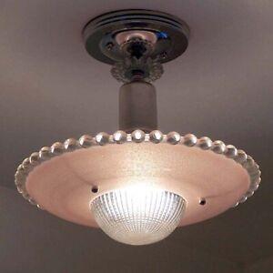 30/'s vintage chain and ceiling fixture,bronze retro decor pink deco glass shade art deco ceiling light,single bulb authentic