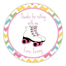 24 Personalised Retro Roller Skates Happy Birthday Stickers Labels Seals Any Age