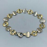 """9ct Yellow & White Gold Circle Hoop Link Bracelet 71/2"""" # 769"""