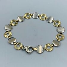 "9ct Yellow & White Gold Circle Hoop Link Bracelet 71/2"" # 769"
