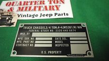 Dodge M37 M53B1 Chassis truck Nominclature plate W/Win (P8)