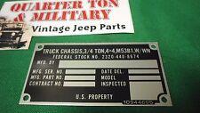 Dodge M37 M53B1 Chassis truck Nominclature plate W/Win