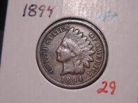 1894 INDIAN HEAD CENT VF + NICE ATTRACTIVE COIN COMBINED SHIPPING