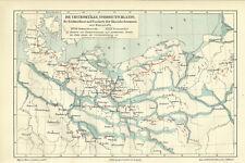 1906 Die Urstromtäler Norddeutschlands Alte Landkarte Karte Litho Deutschland