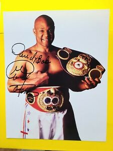 George Foreman > Boxing Champ !  Signed 8X10 Photo Autographed, Holding Belt !
