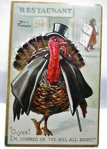 1909 TUCK POSTCARD TURKEY IN CAPE & TOP HAT, I'M STARRED ON THE BILL ALL RIGHT!