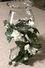 1-Homco Etched Ruffled Peg Votive Cup Candlestick With White Flower Ring
