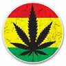 2 x Vinyl Stickers 7.5cm - Cannabis Rasta Flag Jamaica Cool Gift #14456