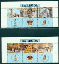 Barbuda Scott #263-264 VAR MNH STRIPS w/LABELS Queen Elizabeth II Coronation $$