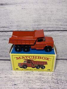 Vintage Matchbox Lesney No 48 Dumper Truck Red w/ Original box.