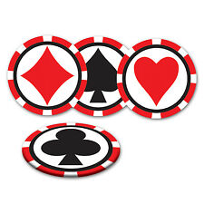 Pack of 8 Card Suit Coasters - Casino Party Decorations - Playing Card Coaster