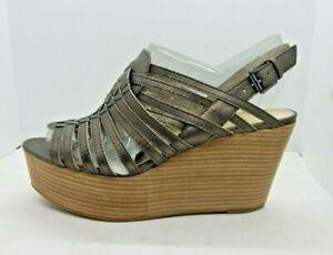 Enzo Angiolini Womens Silver Leather Wedge Platform Heels Shoe Size 9.5M