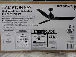 Florentine IV 56 in. Indoor/Outdoor Natural Iron Ceiling Fan with Wall Control