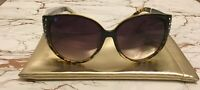 New Pair Womens Jessica Simpson Oversize Cat Eye Rhinestone Sunglasses w/Case