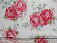 Cath Kidston 1M 100cm square CLASSIC rose white lightweight cotton fabric new