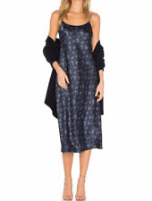 $325 VINCE Floral Blue Silk Slip Mid-Calf Sleeveless Dress sz S