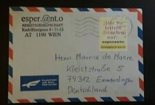 2004 Vienna Austria Personalized Stamps Esperanto Air Mail Illustrated Cover