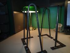 """12"""" HAIRPIN LEGS 3/8"""" ROUND WITH MOUNTING PLATES BARE STEEL set of (4)"""