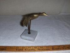 Decorative Enesco Goose In Flight Figurine Brass On Marble Base