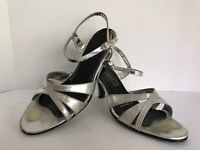 Connie VTG Silver Strappy Heels AllManMade lady'sz 9med FAIR=OLD