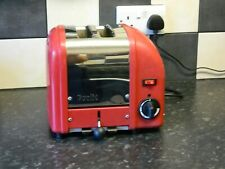 dualit toaster 2 slice red and stainless steel finish