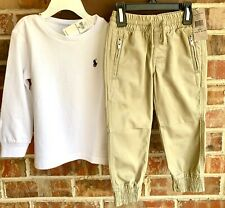 NWT Boys Ralph Lauren trousers and t-shirt outfit set age 2 years