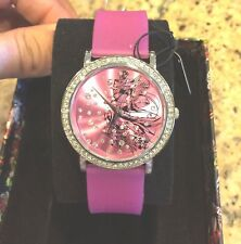NEW ED HARDY LOVE BIRD PINK SWAROVSKI CRYSTAL/SILICON STRAP DESIGNER WATCH