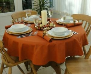 """55"""" (140cm) ROUND BURNT ORANGE CHRISTMAS TABLECLOTH 4 SEATER / EVERYDAY DINING"""