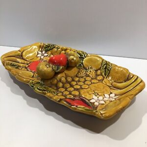 """Vintage serving tray Detailed fruit design, Beautiful and Unique 12"""" wide"""